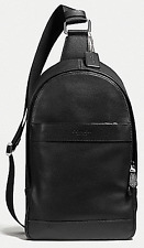 COACH MEN'S LEATHER CHARLES SLING PACK CAMPUS PACK BLACK MSRP $350