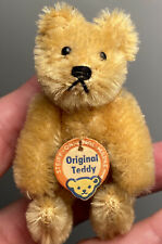 """Antique Miniature Steiff Jointed 3"""" Golden Yellow Teddy Bear w/ Original Tag NM+"""