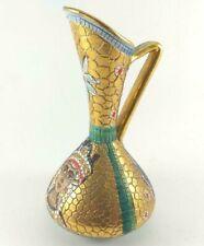 Handmade Deruta Italian Byzantine Mosaic Gialletti Ceramic Ewer / Pitcher