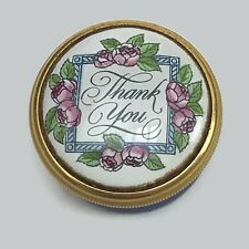 Halcyon Days Battersea Bilston Enamel Thank You Pill Trinket Box Blue England