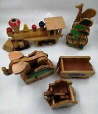 Vintage SYLVAN LINES Wooden Toy Train + Zoo Animals; Giraffe Tiger Elephant USED