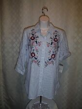3/4 Sleeve Button front Shirt  Blouse Croft & Barrow MD Blue Striped Embroidery