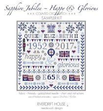 QUEEN ELIZABETH SAPPHIRE JUBILEE COUNTED CROSS STITCH SAMPLER KIT by RIVERDRIFT