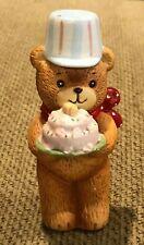 "Vintage Collectible Ceramic Lucy & Me Bear w/ Birthday Cake 4"" Rigg Enesco 1980"