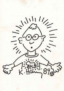 Keith Haring original drawing 1989 Self Portrait