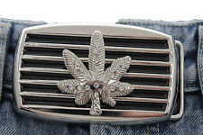 Men Women Silver Black Metal Belt Buckle Large Size Marijuana Leaf Plant Beads