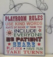 COLOURFUL METAL 'PLAYROOM RULES SIGN' WIRE WALL HANGING PLAQUE FOR CHILDREN