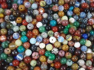 Gemstone Beads 35pc Mix 8mm Round Semi Precious Gem Stone Natural FREE POSTAGE