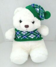 Commonwealth Plush Teddy Bear White Green Hat Sweater Vintage 1987