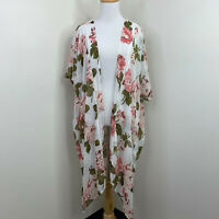 Band Of Gypsies Sheer Women's XS Coverup Kimono Ivory Rose Long Floral Cardigan