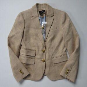 NWT J.Crew Dalton Blazer Honey Brown Ivory Herringbone Italian Cotton-Linen 00