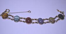 Vtg Bal-Ron Gold Filled Genuine Stone 6 Scarab Double Link Bracelet Banded Agate