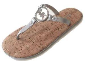 *Michael Kors* Charm Jelly T-Strap Thong Sandal Slide Flip-Flop Flat Silver