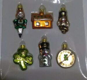 SET OF 12 GLASS ORNAMENTS St. Pat Patrick Day + Glass Shamrock