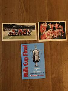 Everton v Liverpool official souvenir programme milk cup final 1984 & Postcards