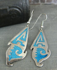 Taxco Mexico Sterling Silver & Crushed Turquoise Dangle Earrings