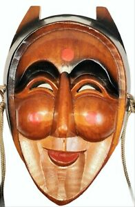 """Hand Craved Wooden Jokers Mask for wall Decor 9"""" Inch"""