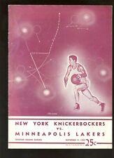Nov 11 1948 NBA Basketball Program Minneapolis Lakers  at New York Knicks VG