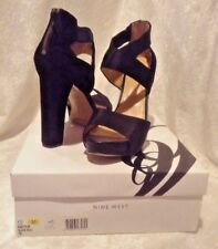 Nine West Stylin Black on Black Leather Pump Sandals Back ZIPPER 12m