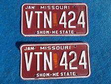 Vintage Original PAIR Missouri VTN 424 License VEHICLE Tag Man Cave Reissue