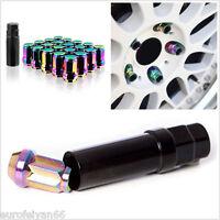 20 Pcs M12XP1.5 Neo Chrome Aluminum Car Wheel Rim Lug Nuts Kit Decoration Screws
