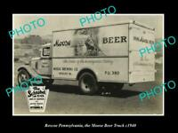 OLD LARGE HISTORIC PHOTO ROSCOE PENNSYLVANIA THE MOOSE BEER TRUCK c1940