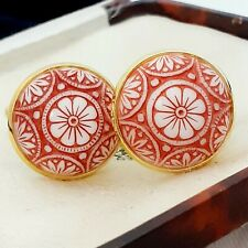 Vintage Preciosa Red White Mosaic Glass - Large Round Goldtone Cufflinks