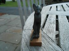 """Vintage Solid Bronze Cat Figure On Wood Base, 3"""" In Height"""