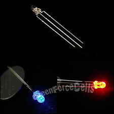 5 x 3mm Dual Bi-Color Red Blue Bright 3-Pin Water Clear bulb Led Common Anode