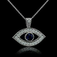 0.75 Ct Blue Sapphire & Diamond Evil Eyes Pendant Necklace 14K White Gold Finish