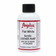 Angelus Flat White acrylic leather paint / Dye 4 oz bottle for Shoes Bags Boots