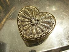 Brass Plate Jewellery Heart Shape Ornate Filigree For Necklaces Vintage Gift
