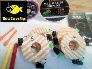 Zig Rigs 5 Korda Fox Ultima Hooklink Adjustable Zig Aligner Pre Tied Carp Rigs