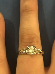 *Vintage 14k White Gold Art Deco Round Cut Diamond Engagement Ring With Accent