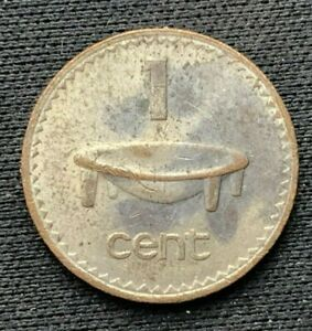 1969 Fiji 1 Cent Coin  XF+    Bronze World Coin     #K1484