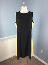 Ralph Lauren Black Tan Colorblock A Line Flare dress XL 14 16 Faux leather EUC