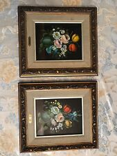 Pair Of Still Life Vito L. Ruggeri Floral Oil Paintings In Wood Frames