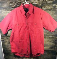 WOOLRICH Men's Button Down Short Sleeve Size L Heavy 100% Cotton RED Pocket EUC