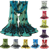 Women Wild Soft Peacock Feather Embroidered Lace Scarf Long Wrap Shawl Pashmina