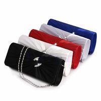 Women's Bling Rhinestone Bridal Shoulder Clutch Bag Chain Evening Handbag Purse