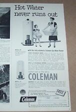 1952 print ad - Coleman gas hot water heaters Little Girl mother family laundry