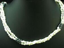 Barock-Perlen Collier mit Hämatit Besatz & 925 Silber Verschluss / 89,8 cm