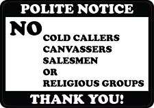 No Salesman Cold Callers Canvassers Door Signs Self-adhesive Sticker 10x7cm