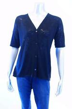 Alfani Black V-Neck Button up Short sleeve Semi Shear Blouse Sz Small