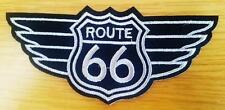 ROUTE 66 WINGS PATCH IRON ON SEW ON EMBROIDERED PATCH 11.5cm x 5cm BIKER MC