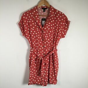 New Look BNWT Womens playsuit romper size 10 pink polka dot short sleeve belted