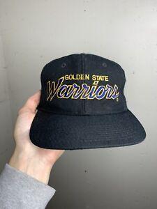 Vintage Sports Specialties Golden State Warriors SnapBack Hat Script Black Wool
