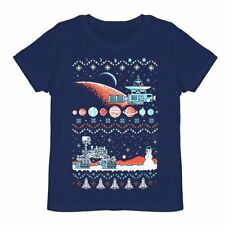 Ugly Holiday Sweater T-Shirt L Women 8 Bit Space Invaders NASA Loot Crate Shirt