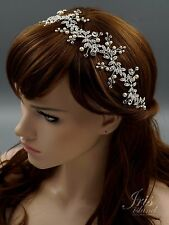 Crystal Pearl Flower Headband Headpiece Tiara Bridal Wedding Accessory Pin 602 S