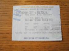 12/02/2000 Ticket: Birmingham City v Bolton Wanderers (Folded). No obvious faul
